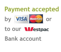 Payment accepted by visa, mastercard or direct deposit