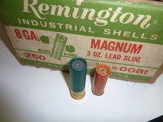 Remington Peters 8 gauge solid slug shells.